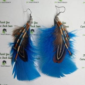 Handmade Feathers Fringe Beaded Earrings